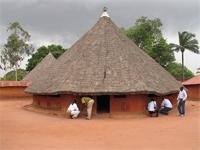 Royal Bas-Reliefs of Abomey: Djeho of Agonglo, recently restored, with a new roof