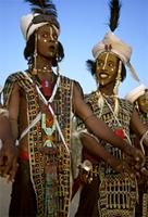 Performing the Yaake, the male dancers stand side by side, Niger