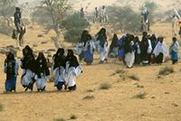 Tuareg guests from all over the region head toward the bride's village, Niger