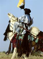 A Tuareg man mounts his camel and circles around the singers, Niger