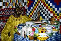 A Songhai bride receives a dowry of decorative enamel bowls and hand-woven blankets, Mali