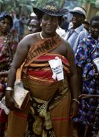 Baganda woman attending the coronation the King of Buganda, Mutebi II, wearing a traditional wrapper called 'basuti.' Baganda people, Kampala, Uganda.