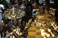 The Mponponsuohene, the Chief Sword Bearer for the Asantehene (King of Asante) is seated to the right of his monarch whose side he never leaves without permission. 25th anniversary jubilee celebrations of Ghana's Asantehene, Opoku Ware II, Kumase, Ghana