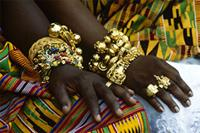 The gold jewelry worn by the Ashanti royal guests at the jubilee, Ghana