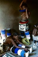 Ndebele girls prepare for their traditional coming out celebration, South Africa