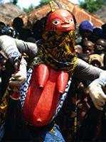 Awo mask performing at Yoruba Gelede masquerades, Benin