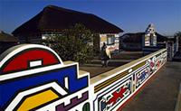 House painted with designs learned during Ndebele girlhood initiations, South Africa