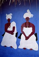 Wall painting of two West African priestesses, Ivory Coast