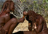 Traditional healer, Katjambia, healing Himba patient through exorcism, Namibia