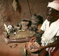A Senufo diviner at work, Ivory Coast