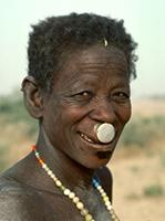 A Kirdi woman, from the Musguum tribe, with an aluminium lip plug fitted, Cameroun