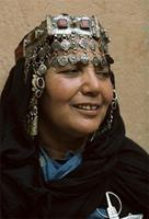 A Berber woman from Tiznit wearing ornate headdress, Morocco