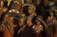 Eunoto ceremony, young uncircumcised girl friends of the Maasai warriors, East Africa