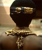 Female dancer ready for an Asante funeral, southern Ghana
