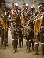 "Hamar women gather together a day after the ""jumping of the bull"" ceremony, Ethiopia"