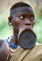 Surma woman of southwest Ethiopia, with a characteristic clay lip plate