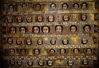 Ceiling of Derbe Berhan Selassie church, covered with paintings of archangels, Ethiopia