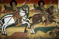 Painting of Equestrian saints on horseback chasing unbelievers out of Gondar, Ethiopia