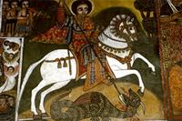 Painting of George, patron saint of Ethiopia, on horseback
