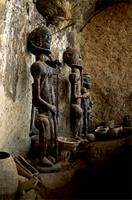 Dogon statues carved in stylized fashion to resemble the Hogon, the chief village priest, Mali