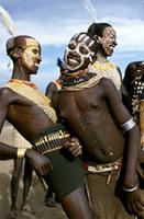 Karo dancers with intricately decorated bodies, Ethiopia