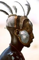 Karo man with imaginative body-painting designs, Ethiopia