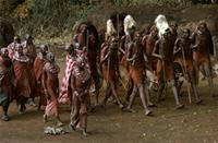 Maasai warriors with girlfriends.