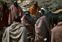 Maasai warriors being showered with honey beer spat upon them by elders.