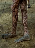 Maasai warrior's painted legs.