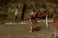 Maasai warriors throwing and dodging hurled sisal stalks with their shields as their girlfriends watch.