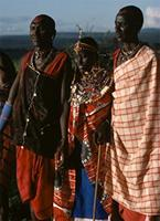 Maasai elders arrive with favorite wives for the Olngesherr ceremony.