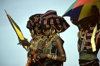 Young Woodabe women clad in their finest attire at Geerewol celebrations, Niger.