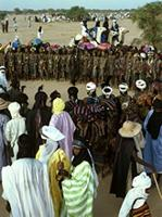 Circle of young Woodabe men gather for seven days at the Geerewol festivities, Niger.