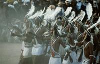 Crowd of Woodabe dancers goes wild with excitement during Geerewol, Niger