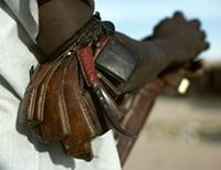 Small leather pouches worn around the elbow containing roots, leaves, grasses and barks. Woodabe people of Niger.