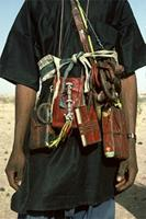 Small leather pouches worn by Woodabe containing roots, leaves, grasses and barks. Woodabe people of Niger.