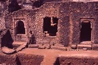 Kilwa Kisiwani: South part exterior. (North West corner, West side) with removed maro pillars