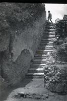 Kilwa Kisiwani: Husuni Kubwa, Staircase at North end (black and white)