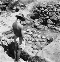 Working shot, excavated terrace wall. Probably terrace platform A5, 1966