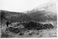 Engaruka, northern fields, hut circle with stone in centre