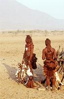 Himba women with baby goats.