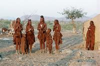 Himba women and children in the village.