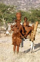 Himba woman with two donkeys, one on a donkey.