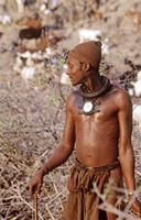 Himba man with goats in background.