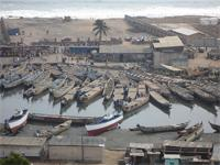 Photograph of boats in the Lagoon, Elmina, Ghana