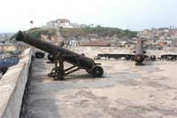 Photogrammetric image of cannon on the West Bastion, Fort St. Jargo in the background, Ghana