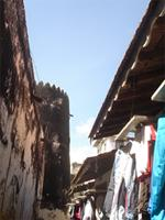 Photograph of a street scene of the southern part of the Lamu Fort, Kenya