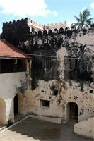 Photograph of part of Courtyard and the northern wall, Lamu Fort, Kenya