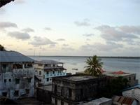 Photograph of buildings on the sea front, Lamu, Kenya