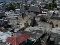 Photograph of the view over the roofs from Lamu, Kenya